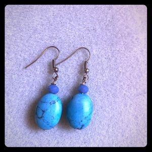 Silver and blue earrings brand new never worn